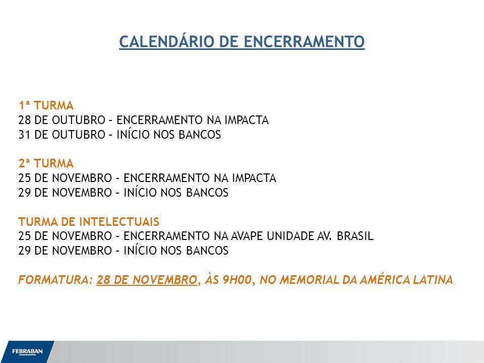 CALENDÁRIO DE ENCERRAMENTO