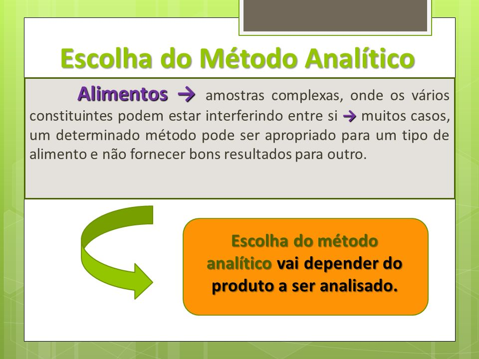 Escolha do Método Analítico