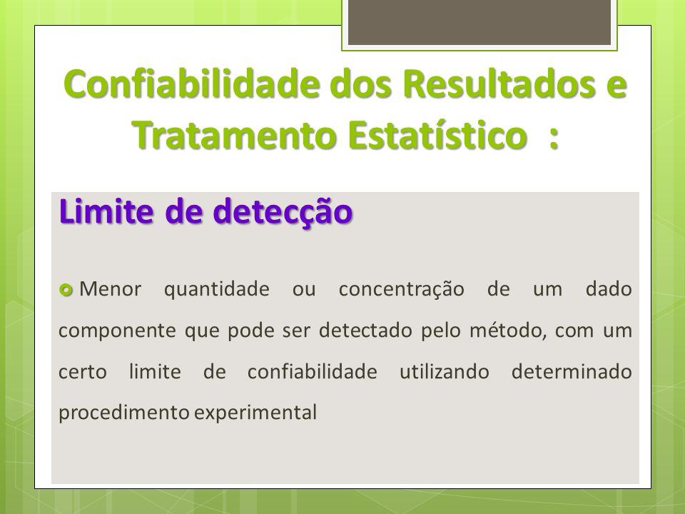Confiabilidade dos Resultados e Tratamento Estatístico :