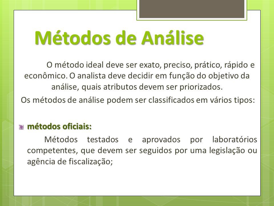 Os métodos de análise podem ser classificados em vários tipos: