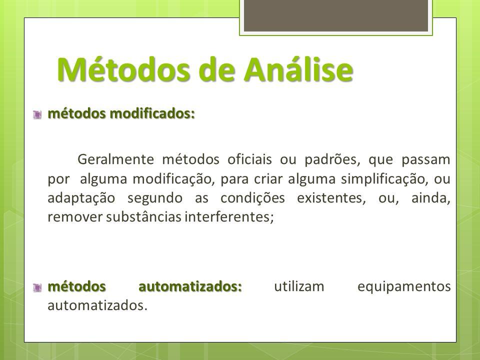 Métodos de Análise métodos modificados: