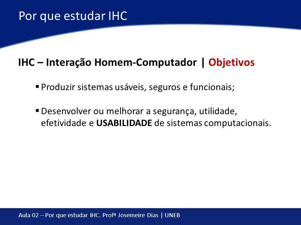 Por que estudar IHC IHC – Interação Homem-Computador | Objetivos