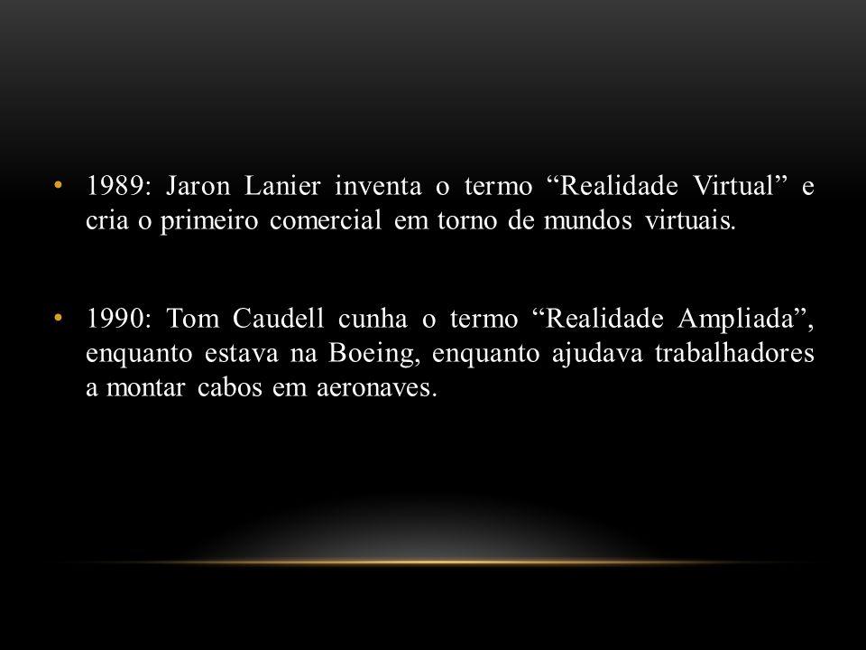 1989: Jaron Lanier inventa o termo Realidade Virtual e cria o primeiro comercial em torno de mundos virtuais.