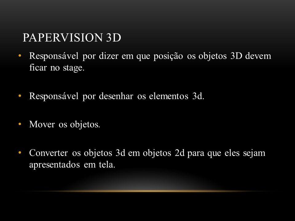 Papervision 3D Responsável por dizer em que posição os objetos 3D devem ficar no stage. Responsável por desenhar os elementos 3d.