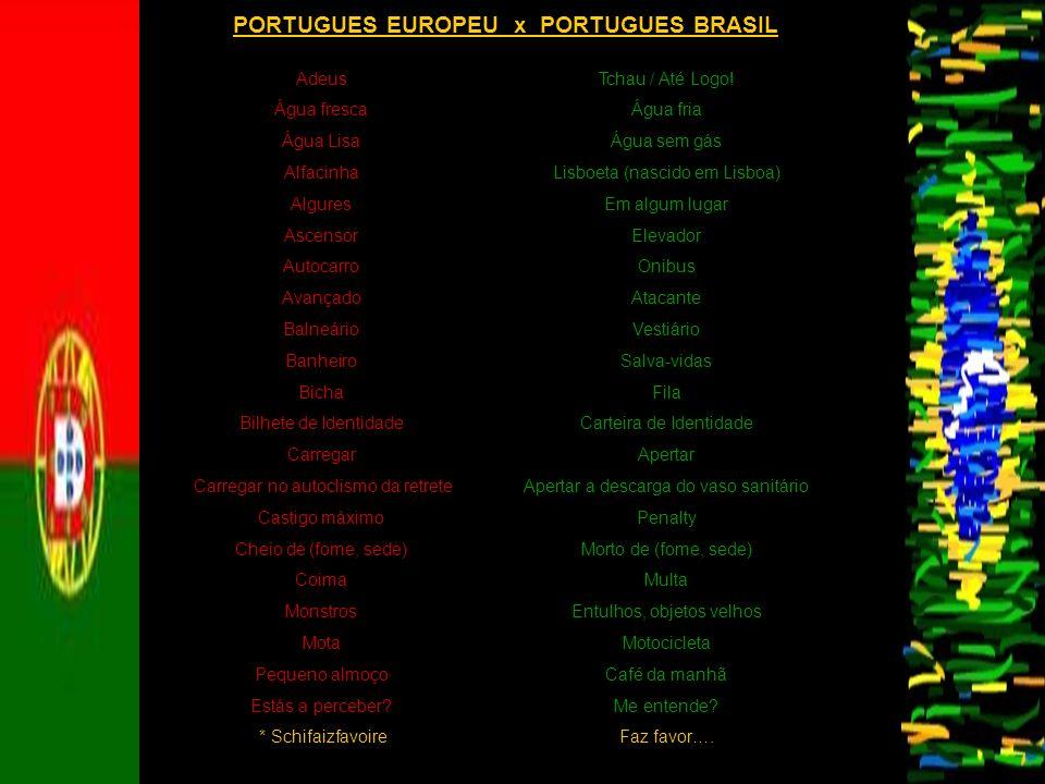 PORTUGUES EUROPEU x PORTUGUES BRASIL
