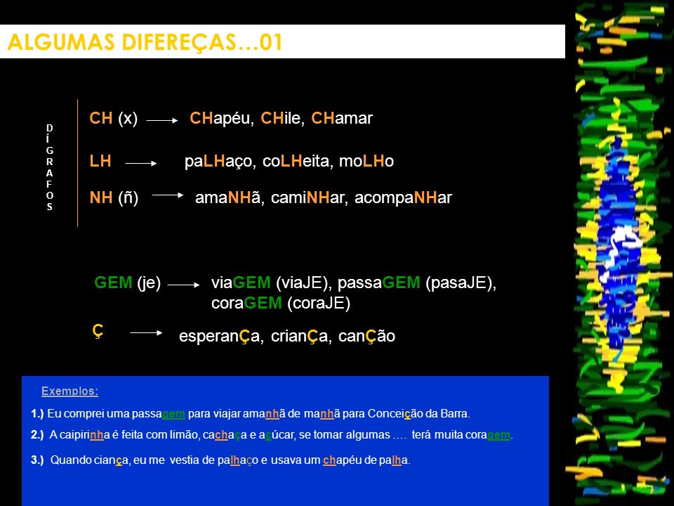 ALGUMAS DIFEREÇAS…01 CH (x) CHapéu, CHile, CHamar LH