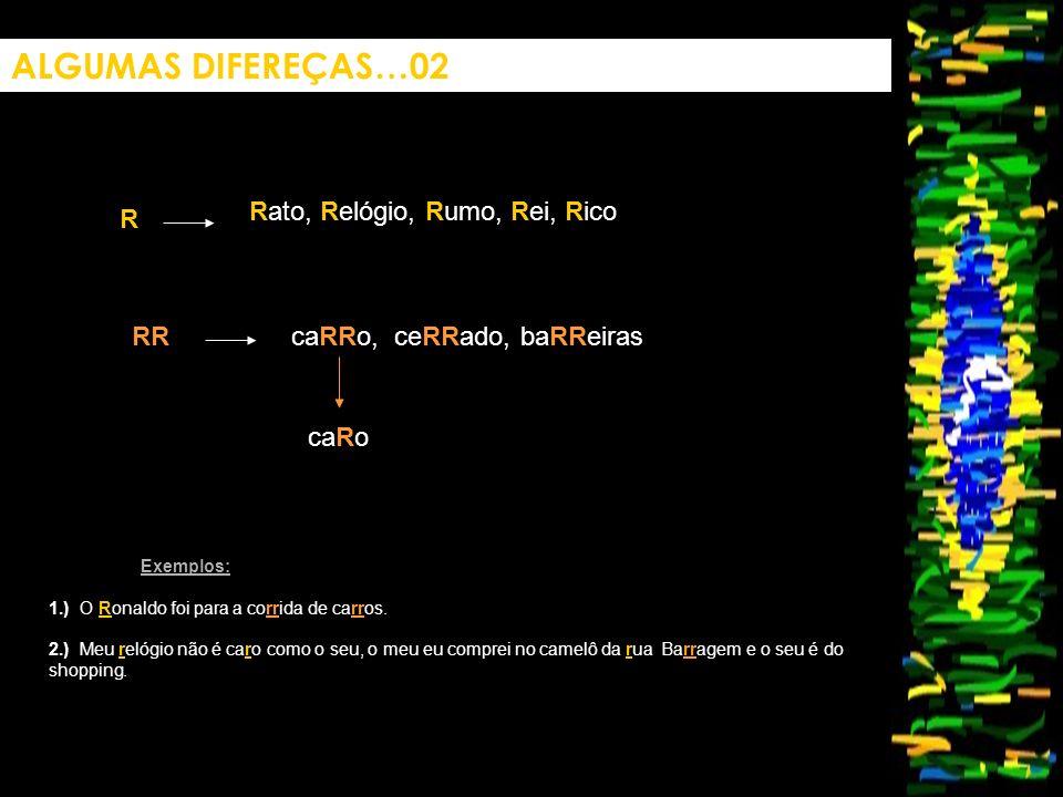 ALGUMAS DIFEREÇAS…02 Rato, Relógio, Rumo, Rei, Rico R RR