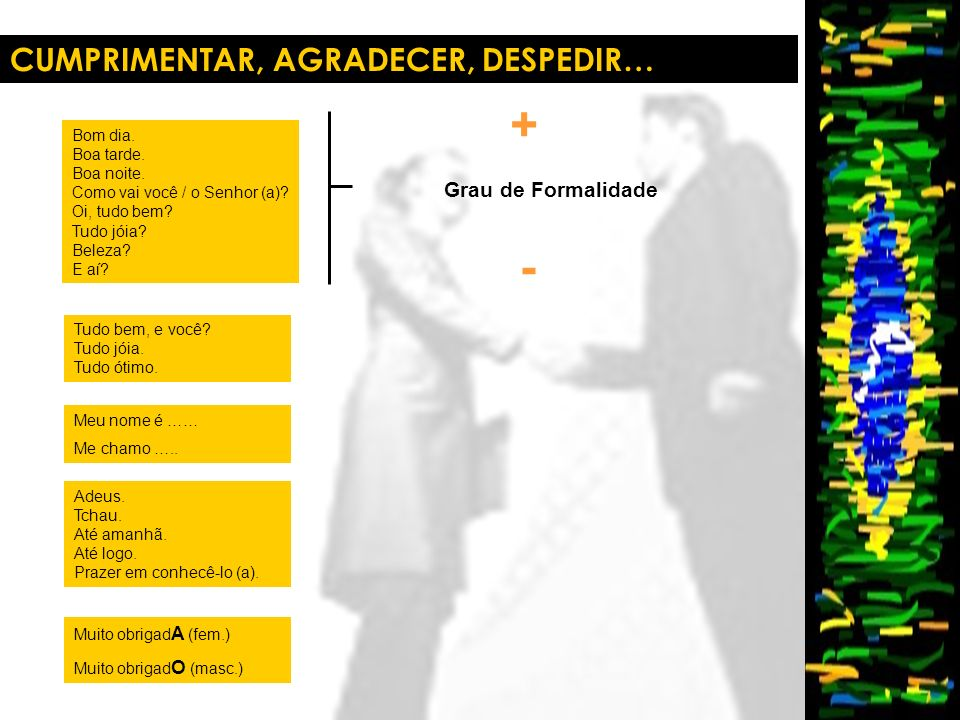 + - CUMPRIMENTAR, AGRADECER, DESPEDIR… Grau de Formalidade Bom dia.