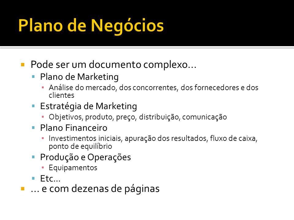 Plano de Negócios Pode ser um documento complexo...