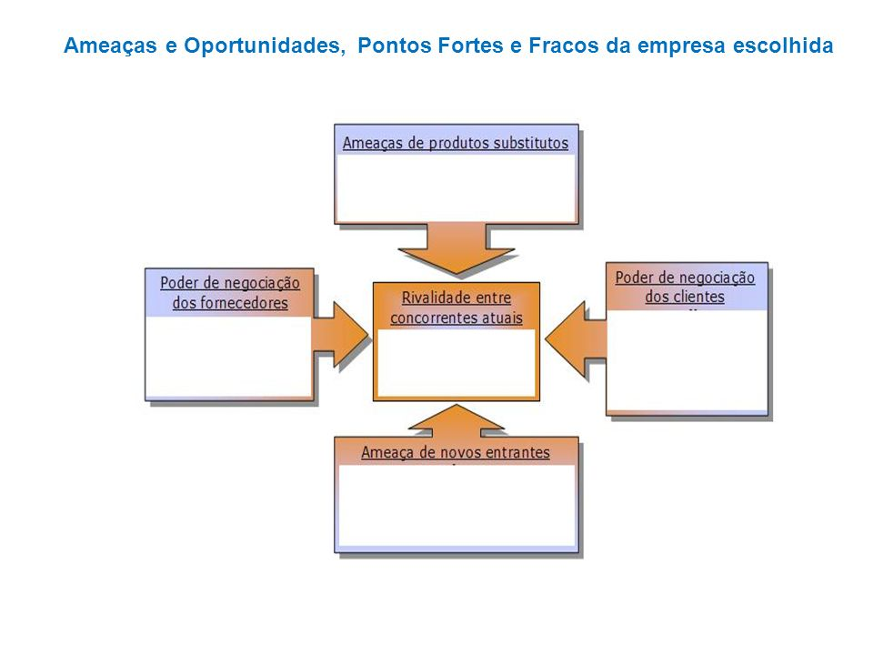 Ameaças e Oportunidades, Pontos Fortes e Fracos da empresa escolhida