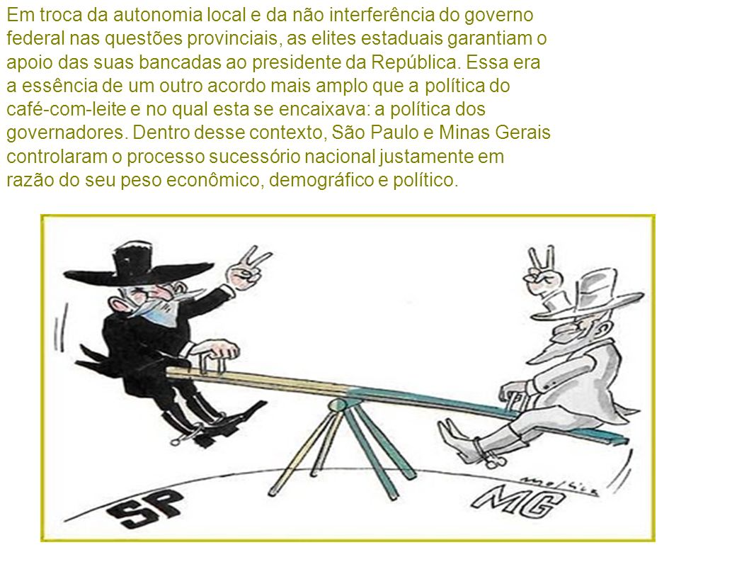 Em troca da autonomia local e da não interferência do governo federal nas questões provinciais, as elites estaduais garantiam o apoio das suas bancadas ao presidente da República.