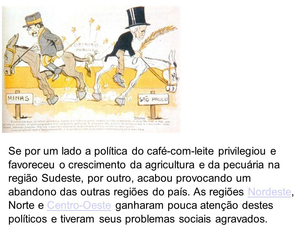 Se por um lado a política do café-com-leite privilegiou e favoreceu o crescimento da agricultura e da pecuária na região Sudeste, por outro, acabou provocando um abandono das outras regiões do país.