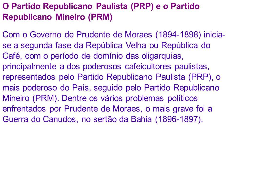 O Partido Republicano Paulista (PRP) e o Partido Republicano Mineiro (PRM)