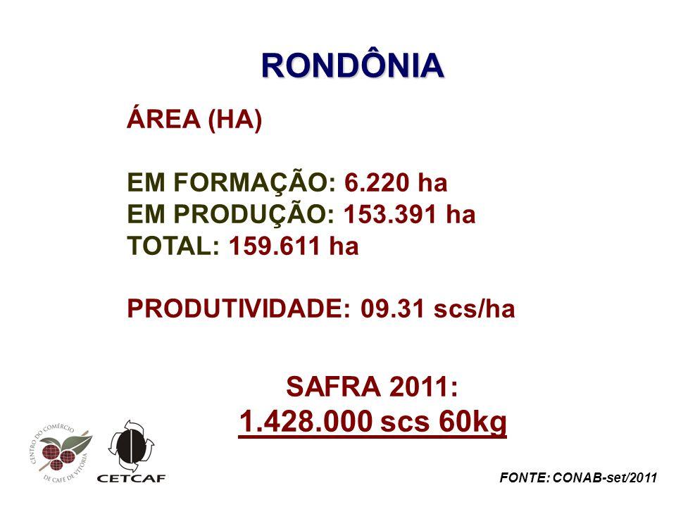 RONDÔNIA 1.428.000 scs 60kg SAFRA 2011: ÁREA (HA)