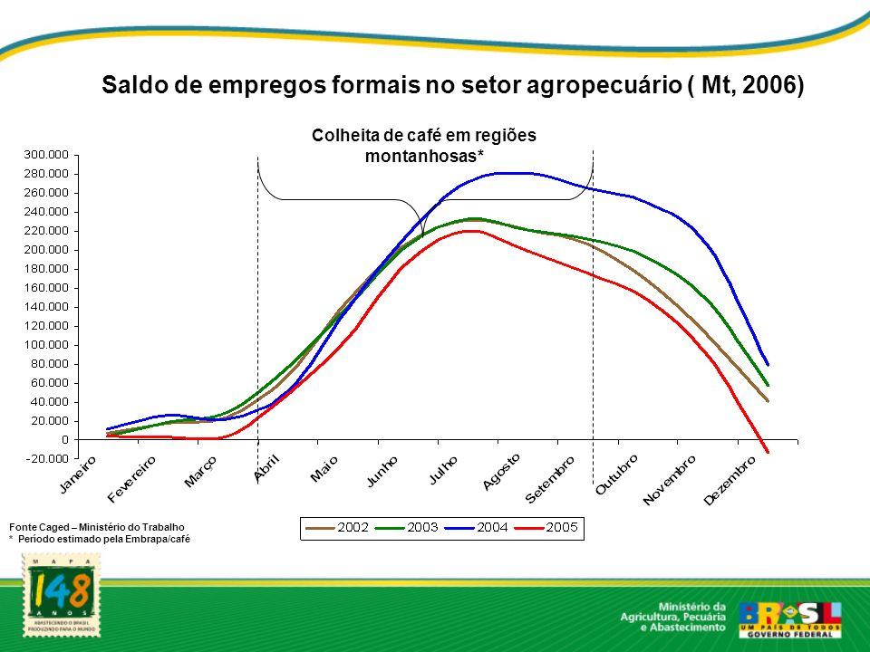Saldo de empregos formais no setor agropecuário ( Mt, 2006)