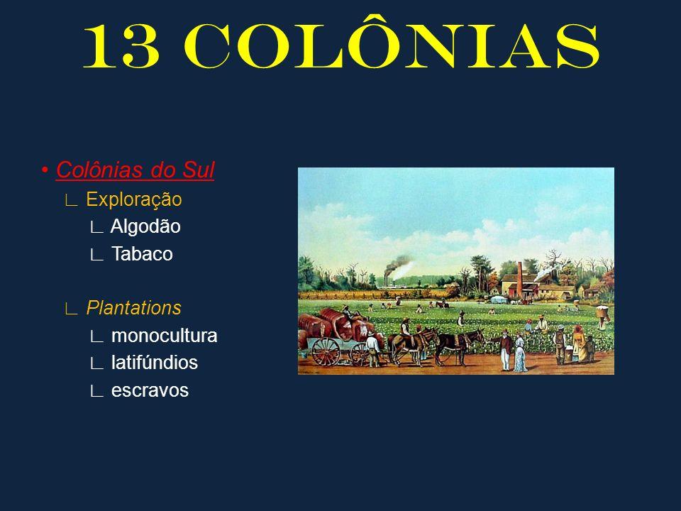 13 COLÔNIAS • Colônias do Sul ∟ Exploração ∟ Algodão ∟ Tabaco