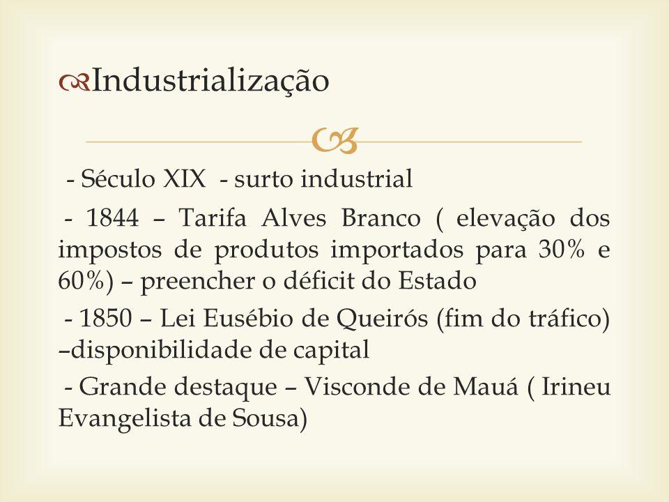 - Século XIX - surto industrial