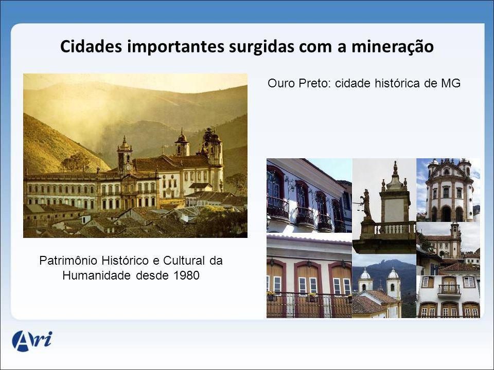Cidades importantes surgidas com a mineração