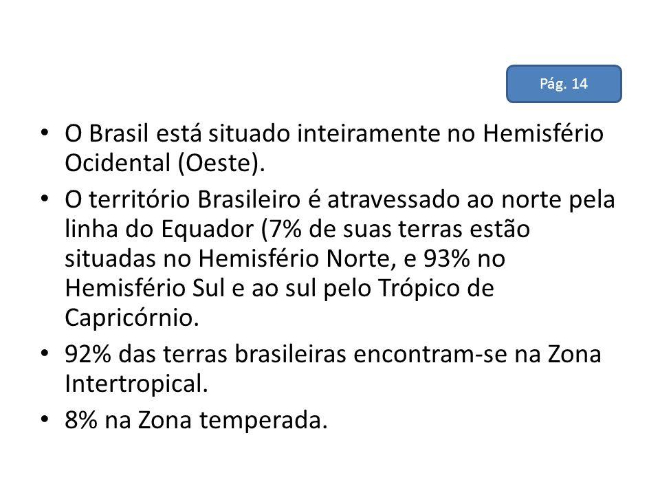 O Brasil está situado inteiramente no Hemisfério Ocidental (Oeste).