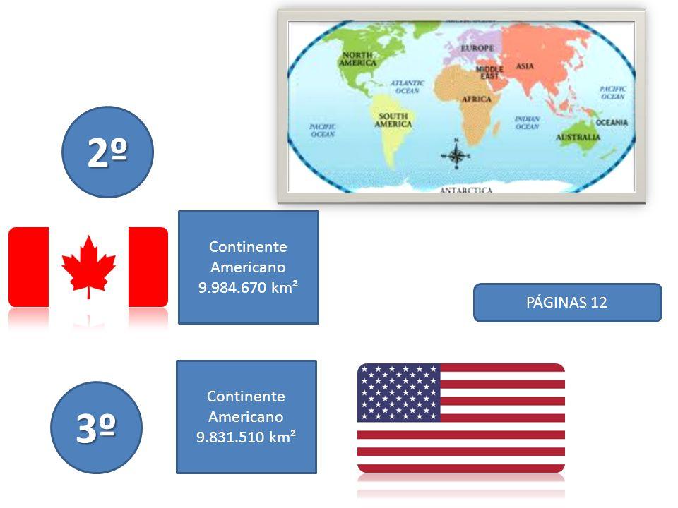2º 3º Continente Americano 9.984.670 km² PÁGINAS 12