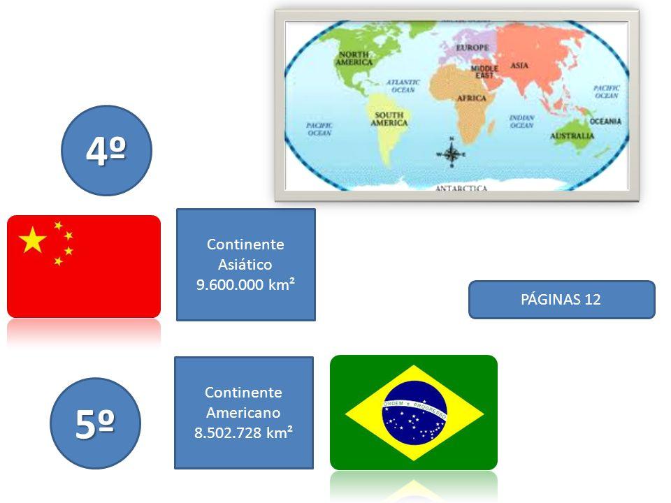 4º 5º Continente Asiático 9.600.000 km² PÁGINAS 12