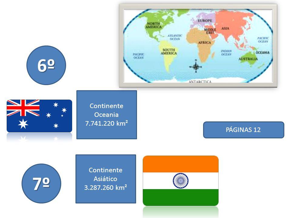 6º 7º Continente Oceania 7.741.220 km² PÁGINAS 12 Continente Asiático