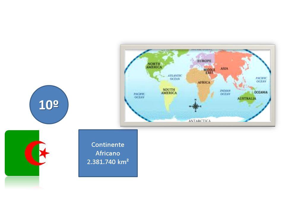 10º Continente Africano 2.381.740 km²