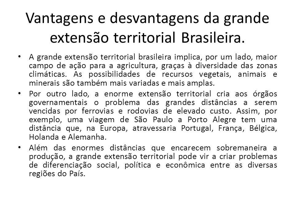 Vantagens e desvantagens da grande extensão territorial Brasileira.