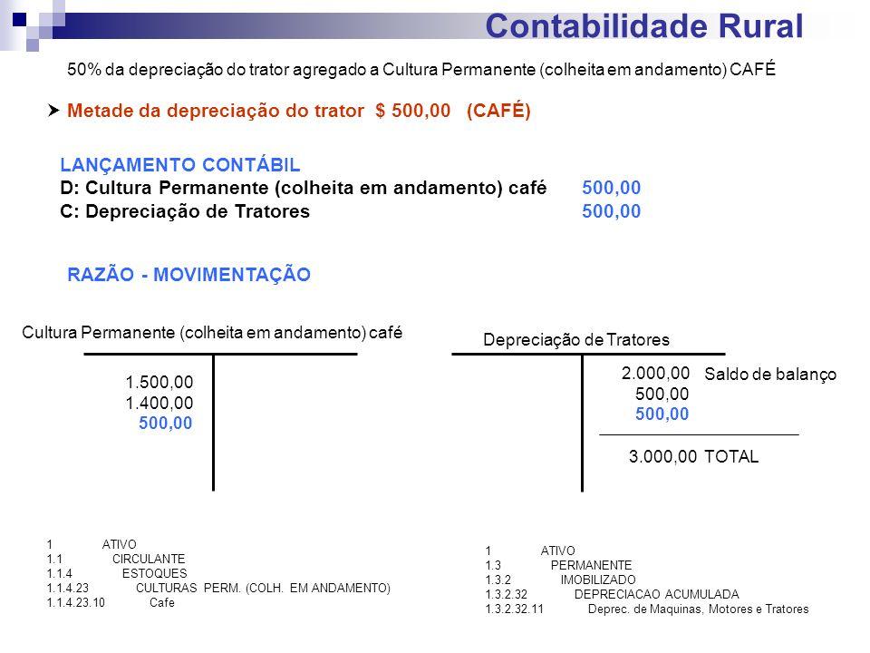 Contabilidade Rural  Metade da depreciação do trator $ 500,00 (CAFÉ)
