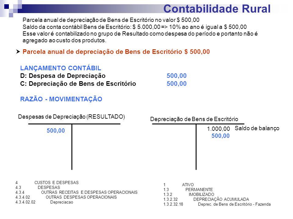 Contabilidade Rural Parcela anual de depreciação de Bens de Escritório no valor $ 500,00.