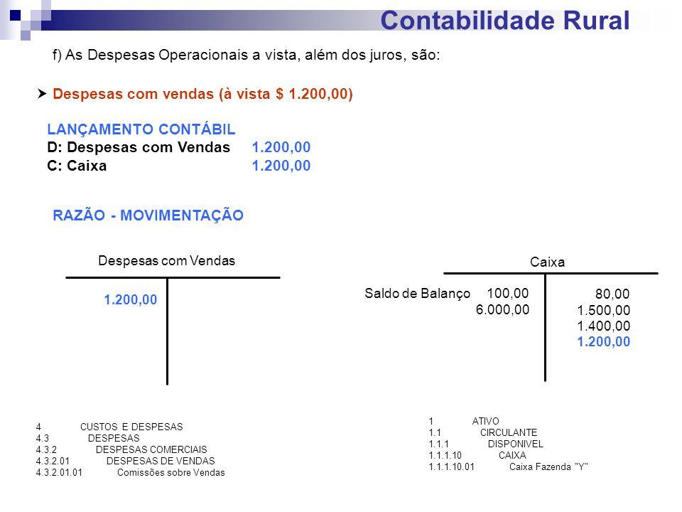 Contabilidade Rural f) As Despesas Operacionais a vista, além dos juros, são:  Despesas com vendas (à vista $ 1.200,00)