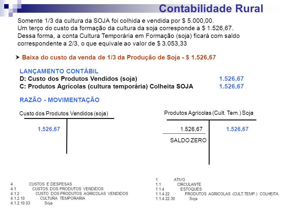 Contabilidade Rural Somente 1/3 da cultura da SOJA foi colhida e vendida por $ 5.000,00.
