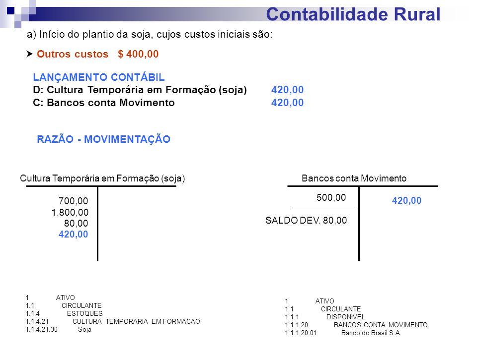 Contabilidade Rural a) Início do plantio da soja, cujos custos iniciais são:  Outros custos $ 400,00.