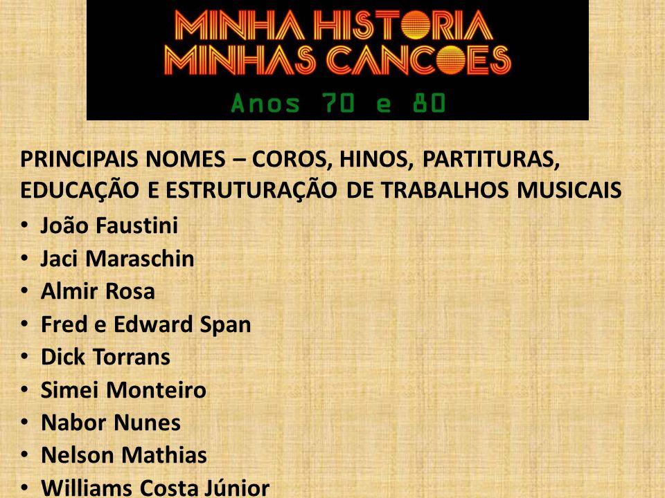 PRINCIPAIS NOMES – COROS, HINOS, PARTITURAS, EDUCAÇÃO E ESTRUTURAÇÃO DE TRABALHOS MUSICAIS