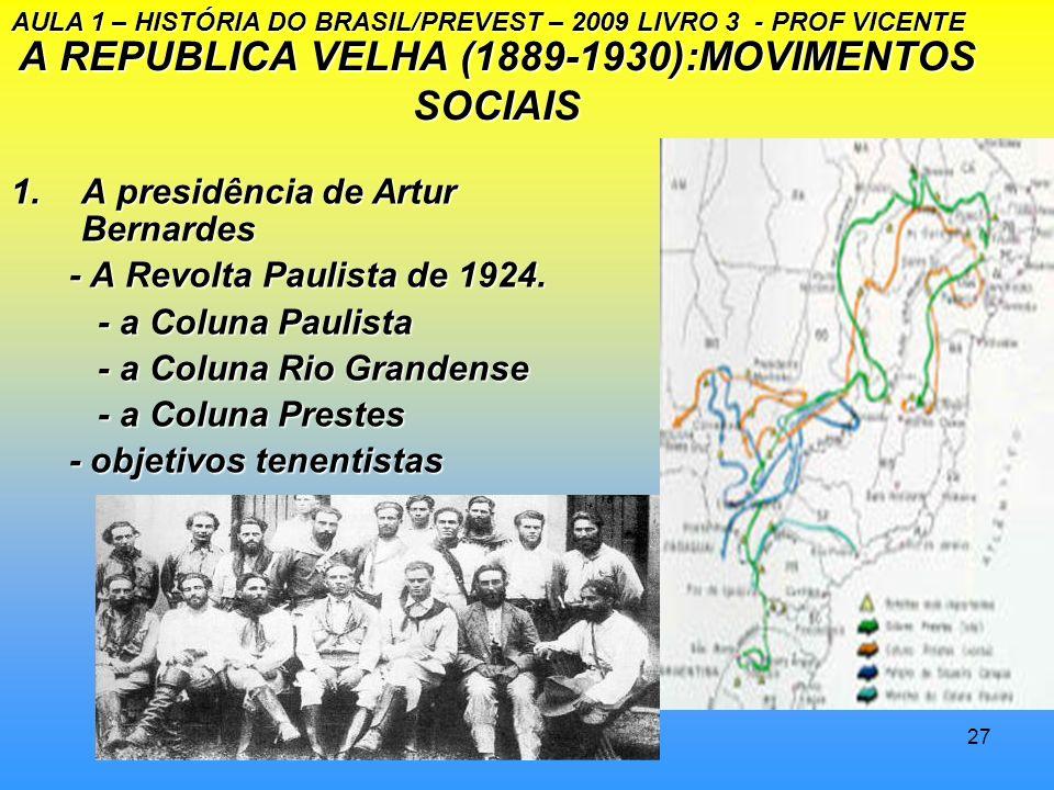 A REPUBLICA VELHA (1889-1930):MOVIMENTOS SOCIAIS