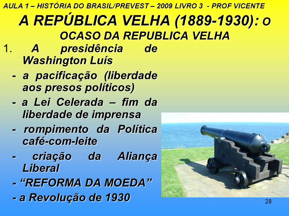 A REPÚBLICA VELHA (1889-1930): O OCASO DA REPUBLICA VELHA