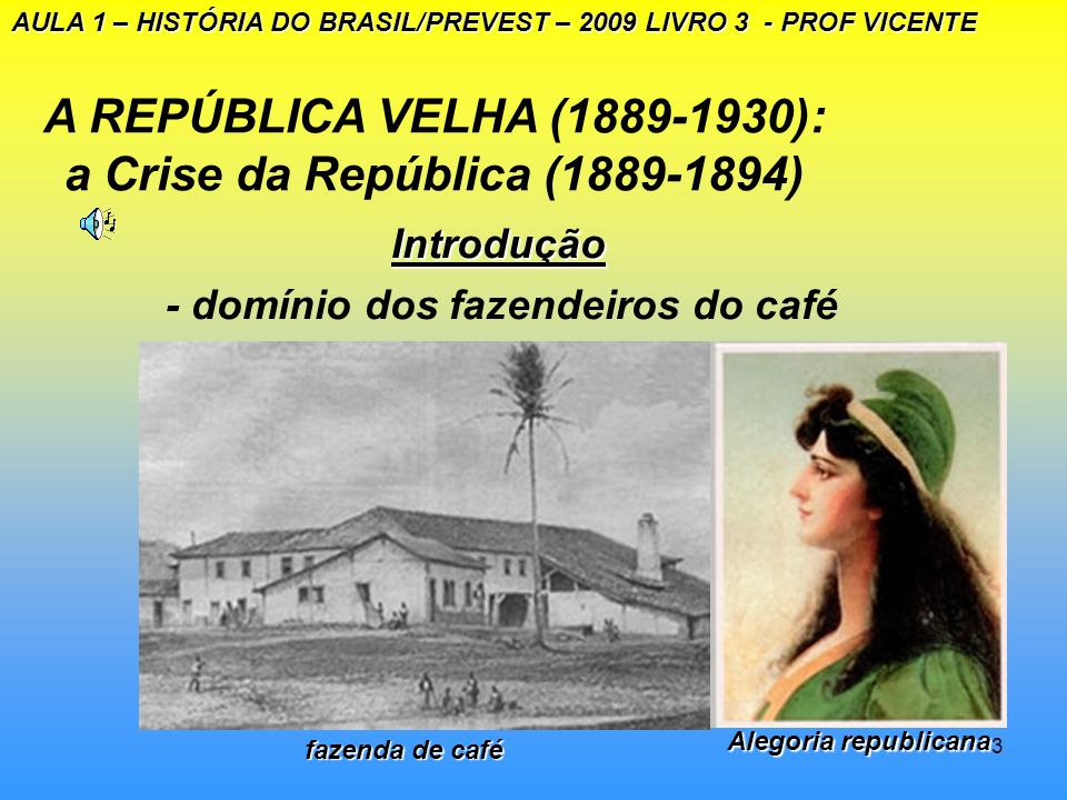 A REPÚBLICA VELHA (1889-1930): a Crise da República (1889-1894)