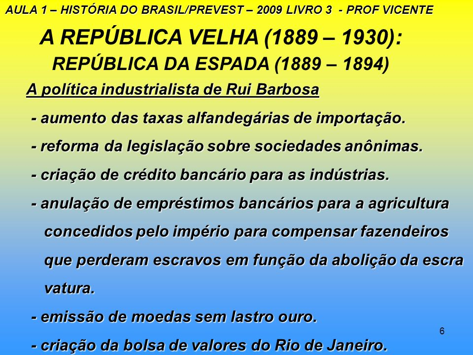 A REPÚBLICA VELHA (1889 – 1930): REPÚBLICA DA ESPADA (1889 – 1894)