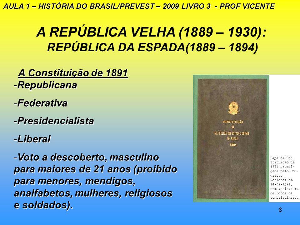 A REPÚBLICA VELHA (1889 – 1930): REPÚBLICA DA ESPADA(1889 – 1894)