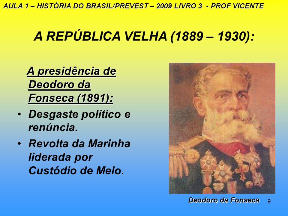 AULA 1 – HISTÓRIA DO BRASIL/PREVEST – 2009 LIVRO 3 - PROF VICENTE