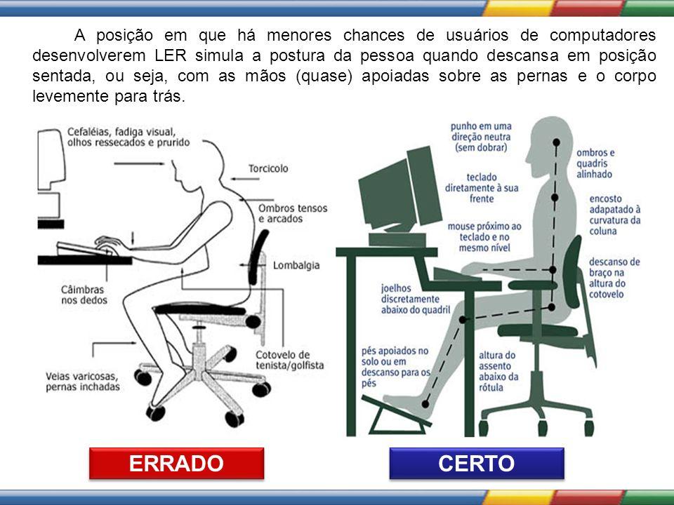 A posição em que há menores chances de usuários de computadores desenvolverem LER simula a postura da pessoa quando descansa em posição sentada, ou seja, com as mãos (quase) apoiadas sobre as pernas e o corpo levemente para trás.