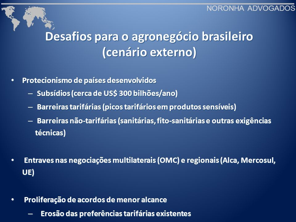 Desafios para o agronegócio brasileiro