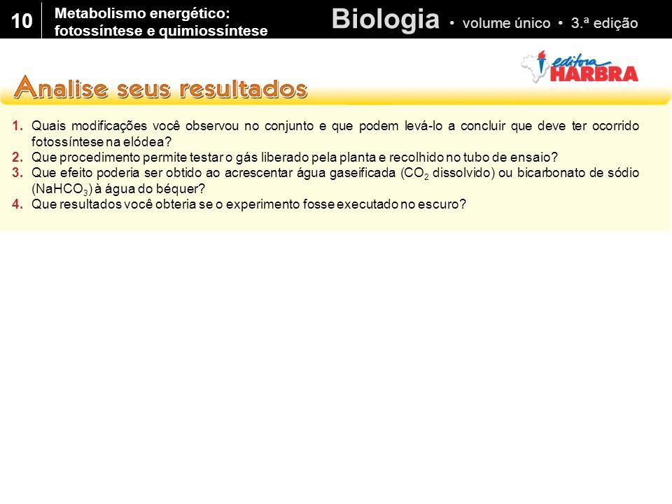 10 Metabolismo energético: fotossíntese e quimiossíntese