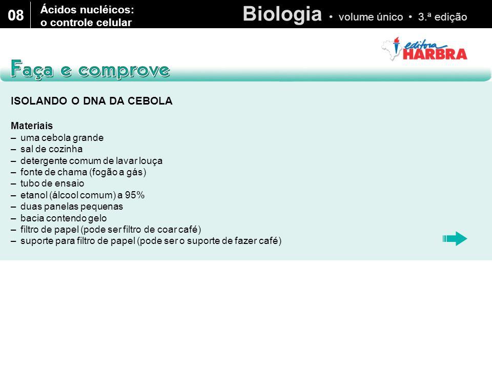 08 Ácidos nucléicos: o controle celular ISOLANDO O DNA DA CEBOLA