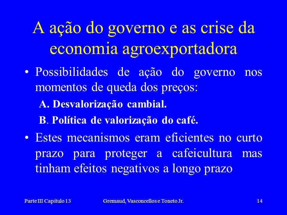 A ação do governo e as crise da economia agroexportadora