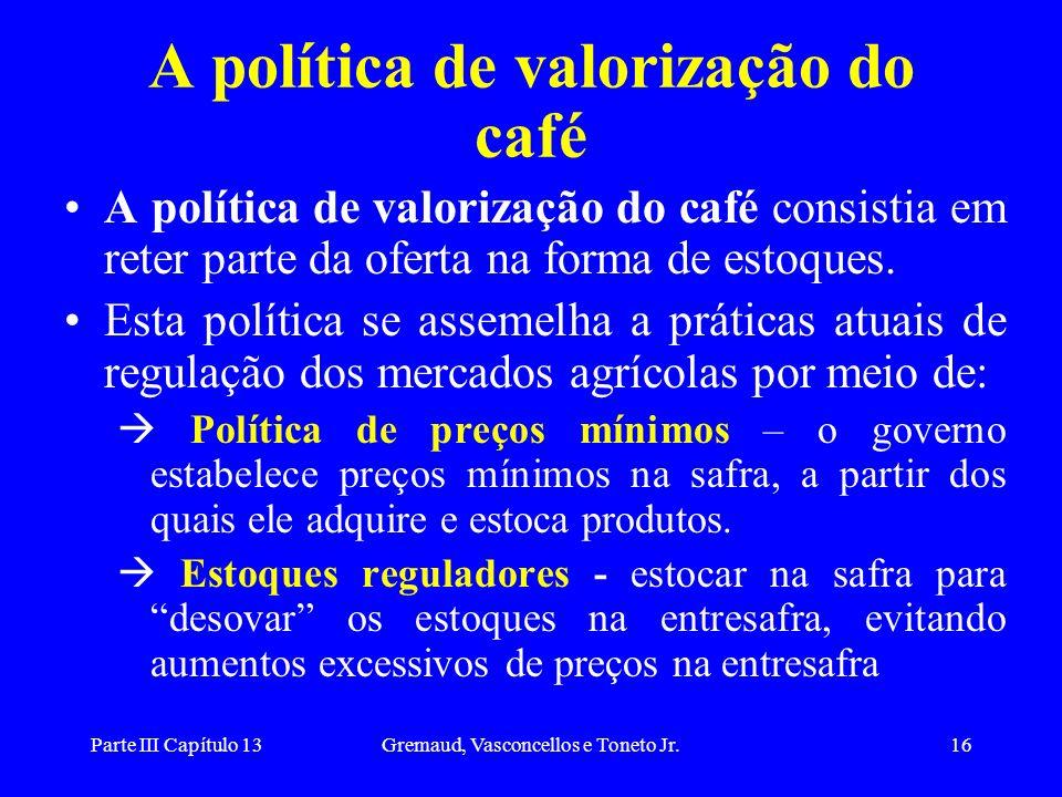 A política de valorização do café