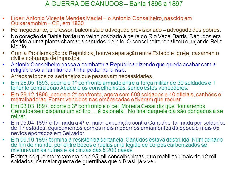 A GUERRA DE CANUDOS – Bahia 1896 a 1897