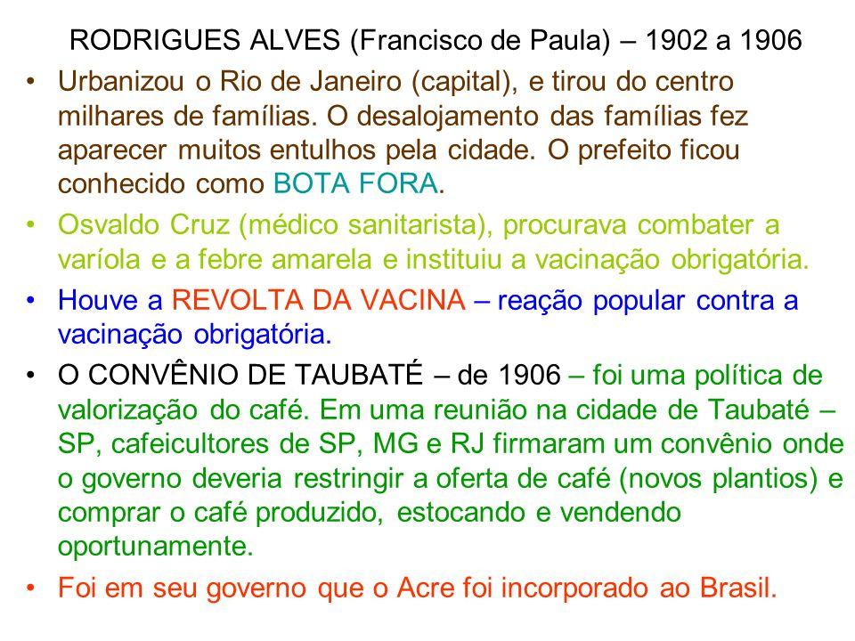 RODRIGUES ALVES (Francisco de Paula) – 1902 a 1906