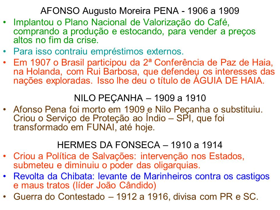 AFONSO Augusto Moreira PENA - 1906 a 1909
