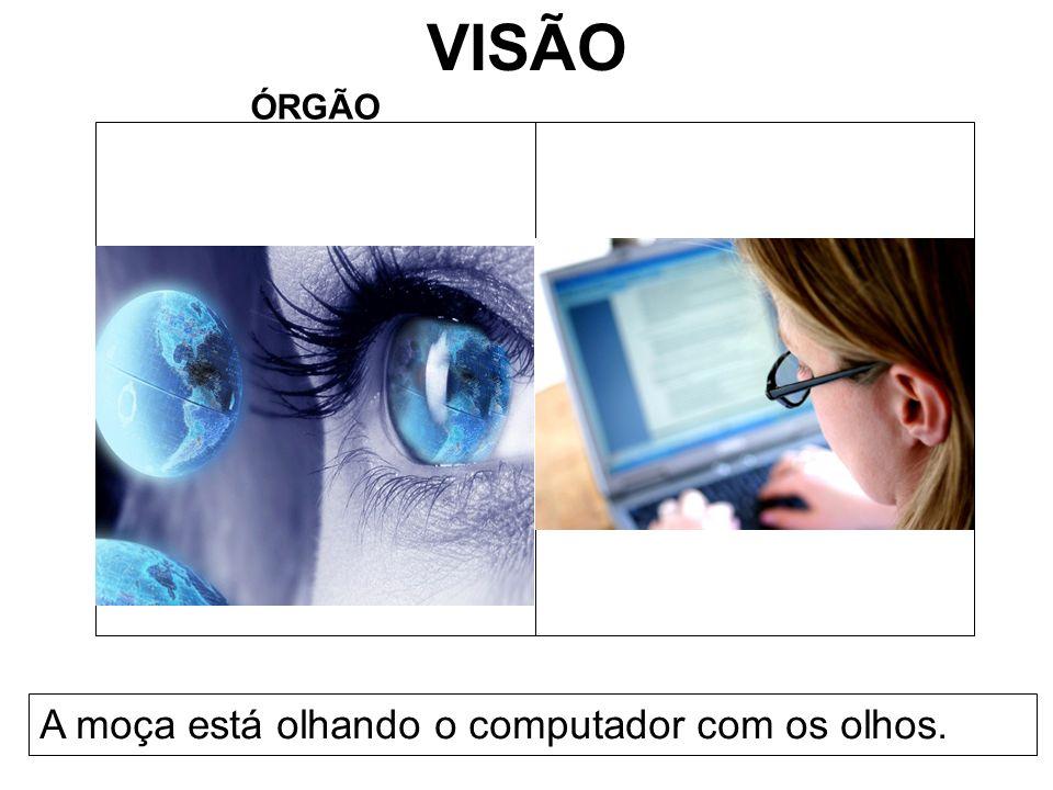 VISÃO ÓRGÃO A moça está olhando o computador com os olhos.